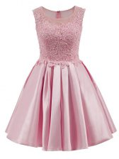 Captivating Baby Pink Scoop Zipper Lace Quinceanera Court of Honor Dress Sleeveless