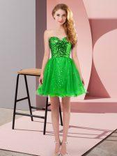 Stunning Mini Length Green Homecoming Dress Sweetheart Sleeveless Zipper