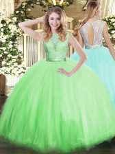 Scoop Sleeveless Backless Quinceanera Dress Tulle
