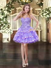Stunning Lavender Sleeveless Mini Length Appliques and Ruffled Layers Lace Up Prom Dress