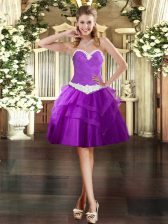 Eye-catching Sweetheart Sleeveless Tulle Prom Evening Gown Appliques and Ruffled Layers Lace Up