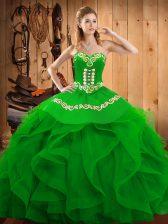 Sweetheart Sleeveless Lace Up Sweet 16 Quinceanera Dress Green Organza