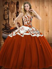 Romantic Sweetheart Sleeveless Satin and Tulle Vestidos de Quinceanera Embroidery Lace Up