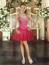 Excellent Red Ball Gowns Beading Homecoming Dress Lace Up Tulle Sleeveless Mini Length