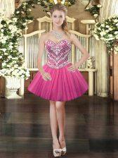 Extravagant Beading Evening Dress Hot Pink Lace Up Sleeveless Mini Length