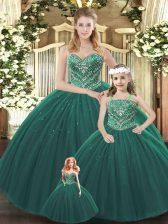 Sweetheart Sleeveless Sweet 16 Dress Floor Length Beading Dark Green Tulle
