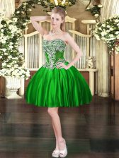 Custom Design Green Satin Lace Up Prom Evening Gown Sleeveless Mini Length Beading