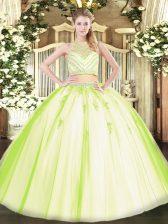 Two Pieces Sweet 16 Dress Yellow Green Scoop Tulle Sleeveless Floor Length Zipper