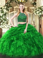 Sleeveless Tulle Floor Length Zipper Ball Gown Prom Dress in Green with Beading and Ruffles