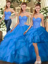 Great Floor Length Blue Quinceanera Gown Sweetheart Sleeveless Lace Up