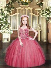 Wonderful Sleeveless Lace Up Floor Length Beading and Ruffles Girls Pageant Dresses