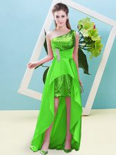 Colorful One Shoulder Sleeveless Elastic Woven Satin and Sequined Homecoming Dress Beading and Sequins Lace Up