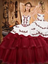 Modern Sleeveless Sweep Train Embroidery and Ruffled Layers Lace Up Quinceanera Gowns