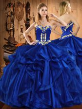 Sleeveless Floor Length Embroidery and Ruffles Lace Up Quinceanera Gown with Royal Blue