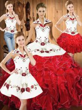 Fantastic White And Red Vestidos de Quinceanera Military Ball and Sweet 16 and Quinceanera with Embroidery and Ruffles Halter Top Sleeveless Lace Up