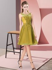Olive Green Sleeveless Chiffon Zipper Court Dresses for Sweet 16 for Prom and Party and Wedding Party