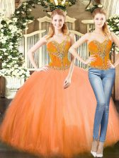 Perfect Orange Red Two Pieces Sweetheart Sleeveless Tulle Floor Length Lace Up Beading Quinceanera Gowns