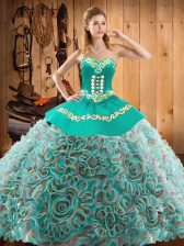 Custom Fit Sleeveless Floor Length Embroidery Lace Up Quince Ball Gowns with Multi-color