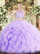 Most Popular Scoop Sleeveless Quinceanera Gown Floor Length Beading and Ruffles Lavender Organza