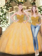 Gold Quinceanera Gown Military Ball and Sweet 16 and Quinceanera with Beading and Ruffles Sweetheart Sleeveless Zipper