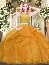 Gold Sleeveless Beading and Ruffles Floor Length Ball Gown Prom Dress