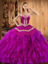 Sweetheart Sleeveless Satin and Organza Vestidos de Quinceanera Embroidery and Ruffles Lace Up