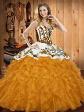 High Quality Sweetheart Sleeveless Quince Ball Gowns Floor Length Embroidery and Ruffles Gold Satin and Organza