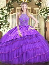 Sophisticated Lavender Ball Gowns Satin and Tulle Halter Top Sleeveless Beading and Embroidery and Ruffled Layers Floor Length Zipper Quinceanera Gowns