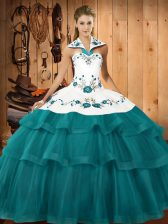 Inexpensive Organza Sleeveless Quinceanera Dresses Sweep Train and Embroidery and Ruffled Layers