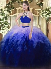 Multi-color Backless High-neck Beading and Ruffles Quinceanera Gown Tulle Sleeveless