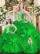 Discount Green Organza Lace Up Sweet 16 Quinceanera Dress Sleeveless Floor Length Beading and Ruffles