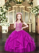 Latest Fuchsia Pageant Dress Toddler Party and Quinceanera with Beading and Ruffles Spaghetti Straps Sleeveless Lace Up