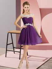 Mini Length Purple Prom Gown Chiffon Cap Sleeves Beading