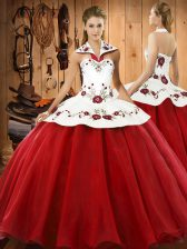 Simple Halter Top Sleeveless Lace Up Sweet 16 Quinceanera Dress Wine Red Satin and Tulle