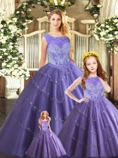 Floor Length Lavender Quinceanera Dresses Tulle Sleeveless Beading