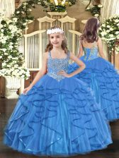 Baby Blue Straps Neckline Beading and Ruffles Kids Formal Wear Sleeveless Lace Up