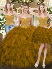 Sweetheart Sleeveless Sweet 16 Quinceanera Dress Floor Length Beading and Ruffles Olive Green Tulle