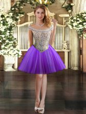 Eggplant Purple Tulle Lace Up Off The Shoulder Sleeveless Mini Length Evening Dress Beading