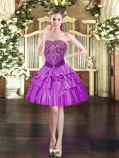 Dramatic Mini Length Purple Homecoming Dress Organza Sleeveless Beading