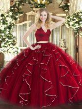 Ideal Wine Red Two Pieces Halter Top Sleeveless Organza Floor Length Zipper Ruffles Quinceanera Dresses