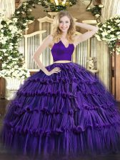 Two Pieces Quinceanera Dress Purple Halter Top Organza Sleeveless Floor Length Zipper