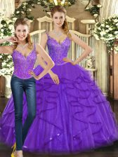 Spectacular Purple Sleeveless Floor Length Beading and Ruffles Lace Up 15th Birthday Dress