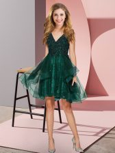 Tulle Sleeveless Mini Length Court Dresses for Sweet 16 and Appliques and Ruffles