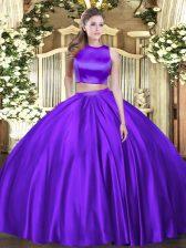 Great High-neck Sleeveless Criss Cross 15 Quinceanera Dress Eggplant Purple Tulle