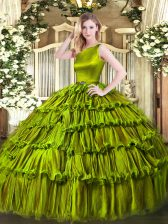 Scoop Sleeveless Organza Ball Gown Prom Dress Ruffled Layers Clasp Handle