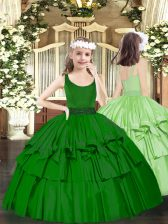 Dark Green Sleeveless Organza Zipper Child Pageant Dress for Party and Quinceanera