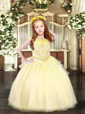 Light Yellow Organza Zipper Glitz Pageant Dress Sleeveless Floor Length Beading