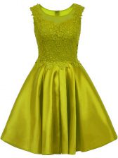 Satin Sleeveless Mini Length Court Dresses for Sweet 16 and Lace