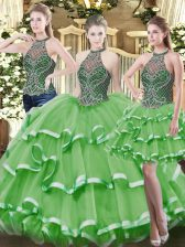 Low Price Green Organza Lace Up High-neck Sleeveless Floor Length Quinceanera Gowns Beading and Ruffled Layers