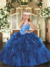 Blue Lace Up Little Girls Pageant Dress Beading and Ruffles Sleeveless Floor Length